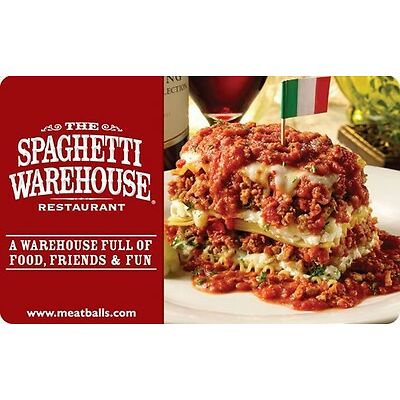 The Spaghetti Warehouse Gift Card - $25 $50 $100 - Email delivery