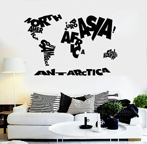 Vinyl Wall Decal World Map Atlas Geography School Stickers Ig3658