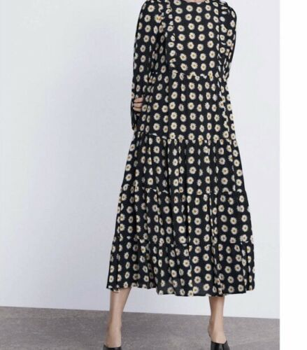 ZARA SS19 Long Flowing Ruffled Daisy Floral Print Flounce Midi Dress S Bnwt