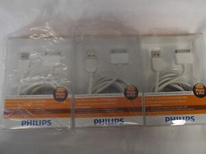 3-PHILIPS-DLC2417-iPad-iPod-iPhone-Sync-Charge-Cable-2meters-6-feet-White-NEW