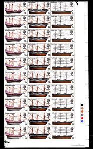 GB British Ships 9d se-tenant Full Sheet of 120 - SG779 SG780 & SG781