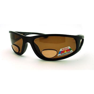 Mens Polarized Brown Lens Sport Warp Biker Sunglasses with Bifocal Reading Lens