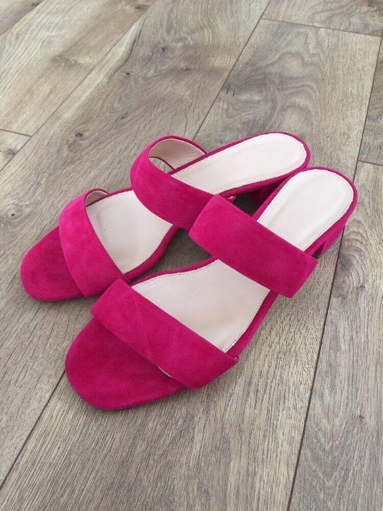 JCrew  128 Double-Strap Suede Slides 8.5 Fuchsia rosa rosa rosa Sandal Heels G0970 NEW 8f4a26