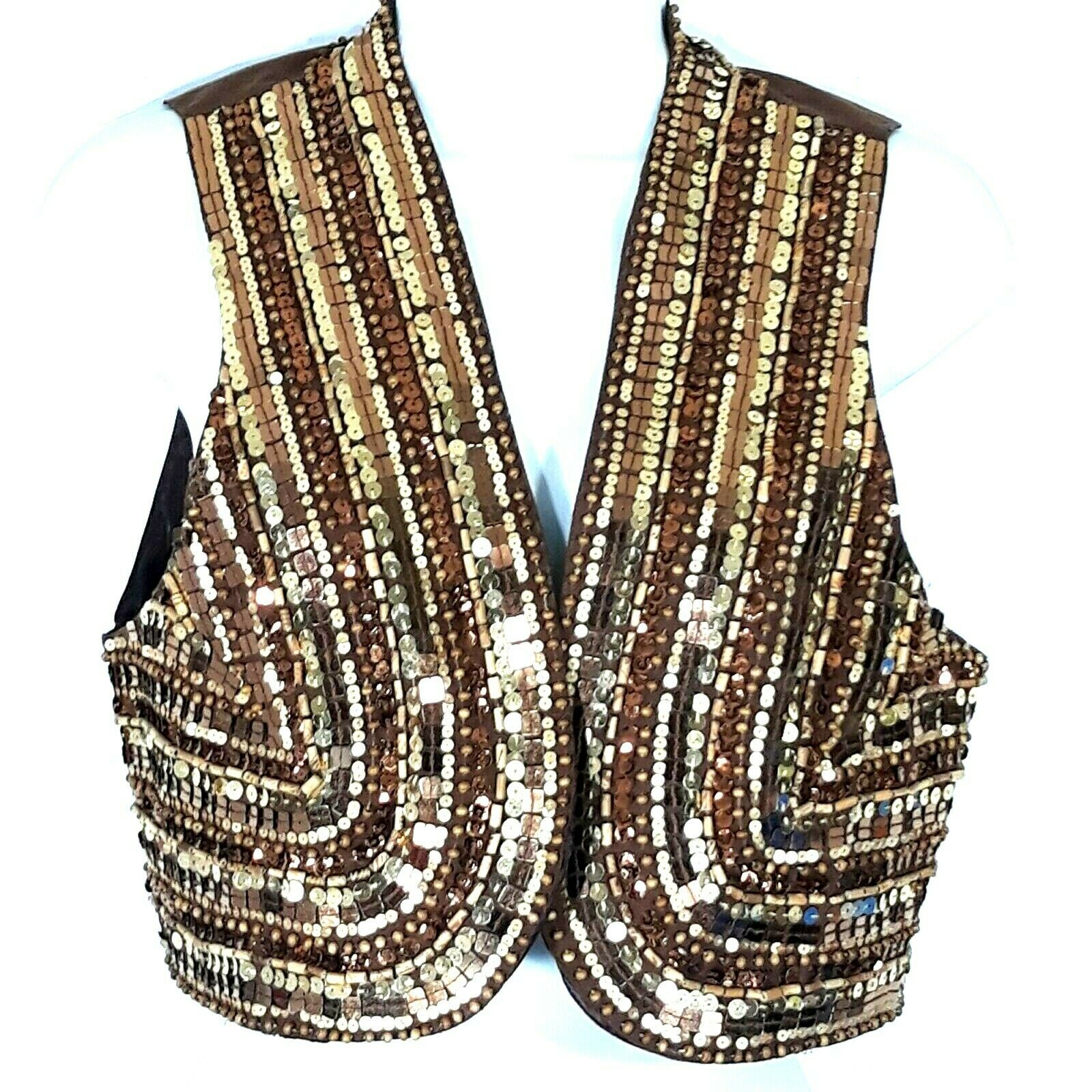 Boston Proper Women Small Open Vest Evening Party Top Brown Top w/ Gold Sequin