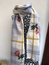 Joules Womens Bracken Printed Woven Scarf ONE in Grey Marl Check in One Size