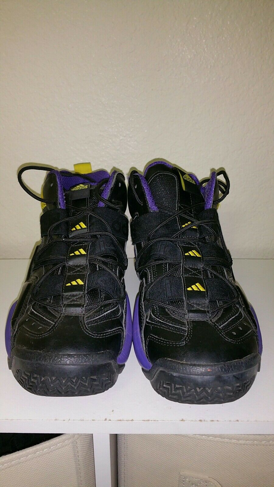 Adidas top ten 2000 black yellow purple Lakers basketball shoes sneakers G56095