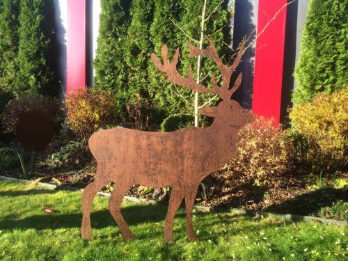 Kunstfigur Hirsch 1,41 m Edelrost Rost Metall Gartendeko Waldtiere Rentier