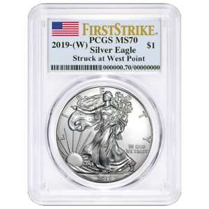 W 2019 $1 American Silver Eagle PCGS MS70 First Strike Flag Label