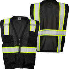 Reflective Black Mesh Safety Vest With Pockets 2 Tone Surveyor Vest High Visiblity