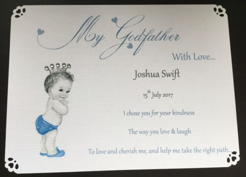 GODMOTHER THANK YOU CARD GODFATHER GUIDEPARENTS GODPARENTS CHRISTENING GIFT CARD