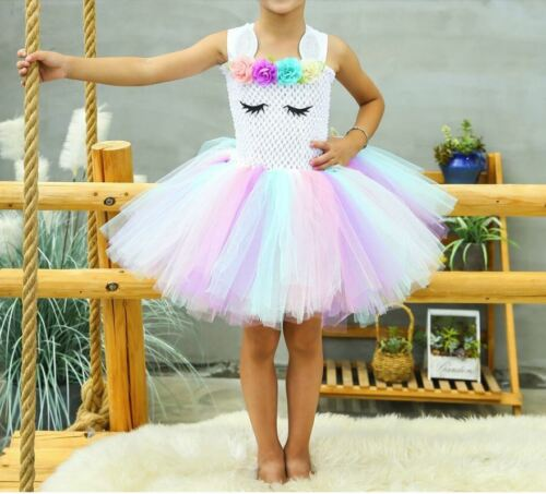 Princess Baby Unicorn Dressing Up Outfit For Girls Tutu Skirt Party Kids Clothes