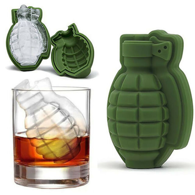 Creative Grenade Square Shape Ice Cube Mold Silicone Ice Tray Maker Tools