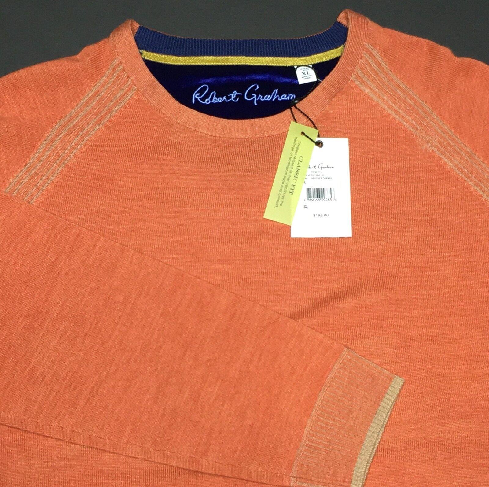 New Robert Graham Sweater  Herren XL Orange 100% Wool Soft Pullover Crew 198