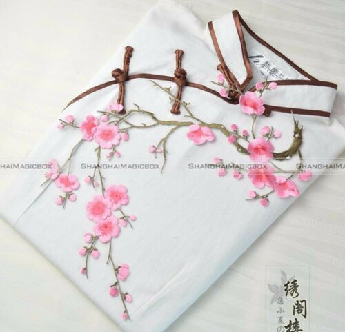 Flower Motif Applique Patch Craft Embroidered Sew//Iron On Plum Blossom