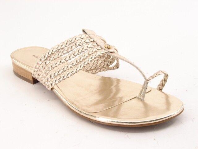 Ny ETIENNE AIGNER kvinnor läder Flat Flip Flop Thong Slide Sandal skor Sz 8.5 M