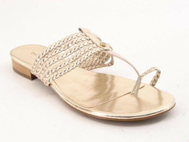 New Flat ETIENNE AIGNER Damens Leder Flat New Flip Flop Thong Slide Sandale Schuhe Sz 8.5 M 5059d3