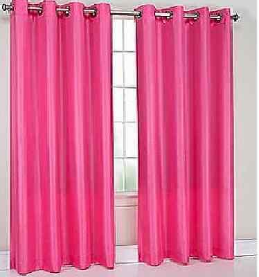 1 panels  BLACKOUT HOT PINK  grommet silk window  curtain lined