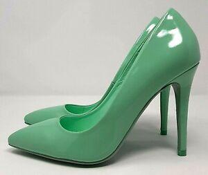 Dorothy-Perkins-Mint-Patent-High-Heel-UK-4-Stiletto-Pointed-Elegant-Light-Green