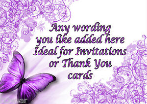 Image Is Loading PURPLE BUTTERFLIES Personalised Birthday Party Invitations Thank You