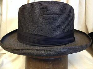Vintage Dobbs Fifth Avenue El Dorado Mens Light Black Milan Straw ... 72b087e0022
