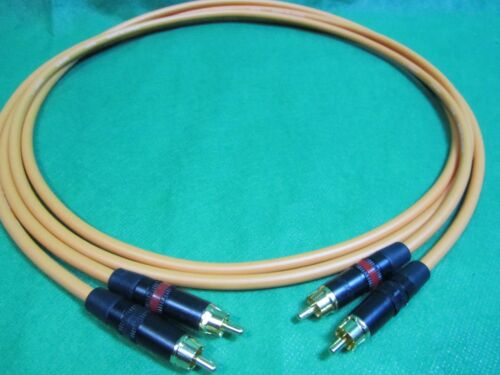 2 Ft Pair Canare L4E6S Orange Star Quad RCA to RCA HIFI Audio Cable.
