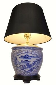 24' H. Blue and White Landscape Porcelain Table Lamp With black and Gold Shade