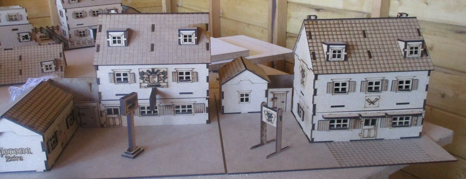 28mm Wargame Scenery 2 Tiles Pub and Butchers Bolt Action (Set B)