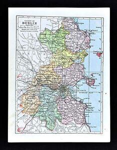 1900 Ireland Map Dublin County Kingstown Bray Howth Swords