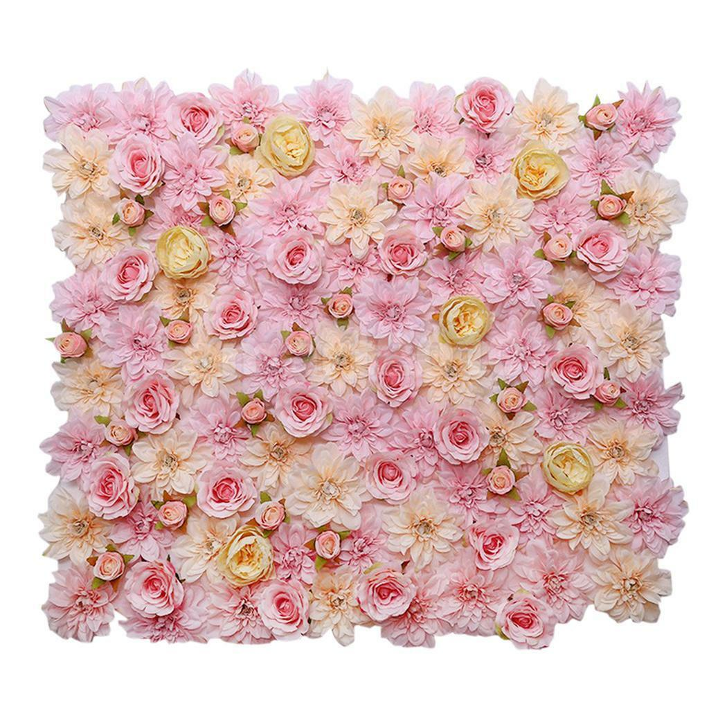 Artificial Flower Wall Panel Wedding Background Hanging Decor Pink ...
