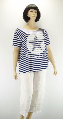 Shirt blau weiß Streifen Stern Star Glitzersteine maritim one size 48-54  w