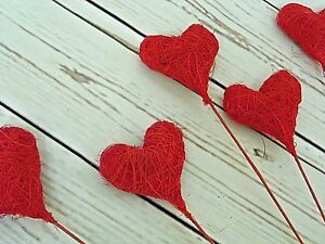 24-X-Coeur-Rouge-Mariage-Saint-Valentin-centrepeices-Decorations-10-034-Sticks-NEUF