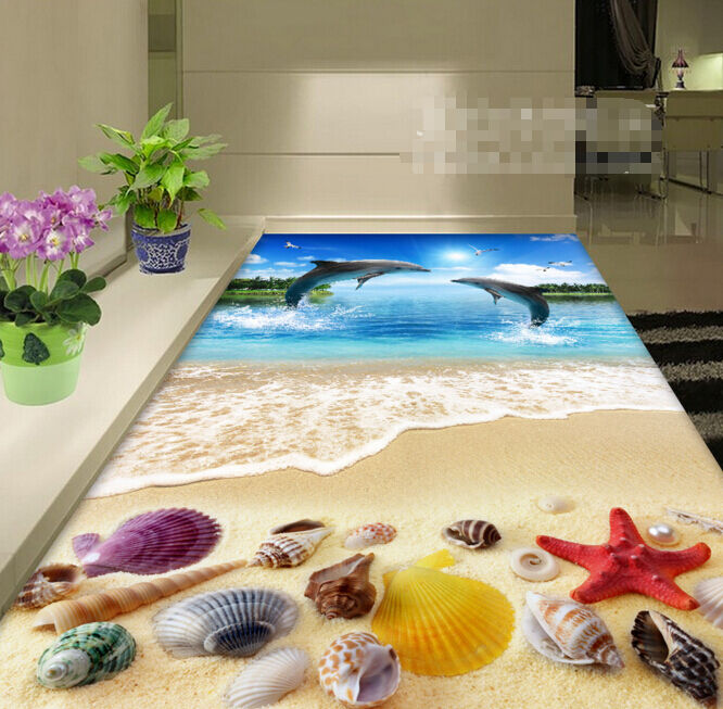 3D Dolphin Beach 4309 Floor WallPaper Murals Wallpaper Mural Print AJ AU Lemon