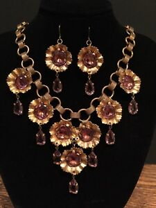 Image Is Loading Antique Art Nouveau Amethyst Necklace Amp Earrings Vintage