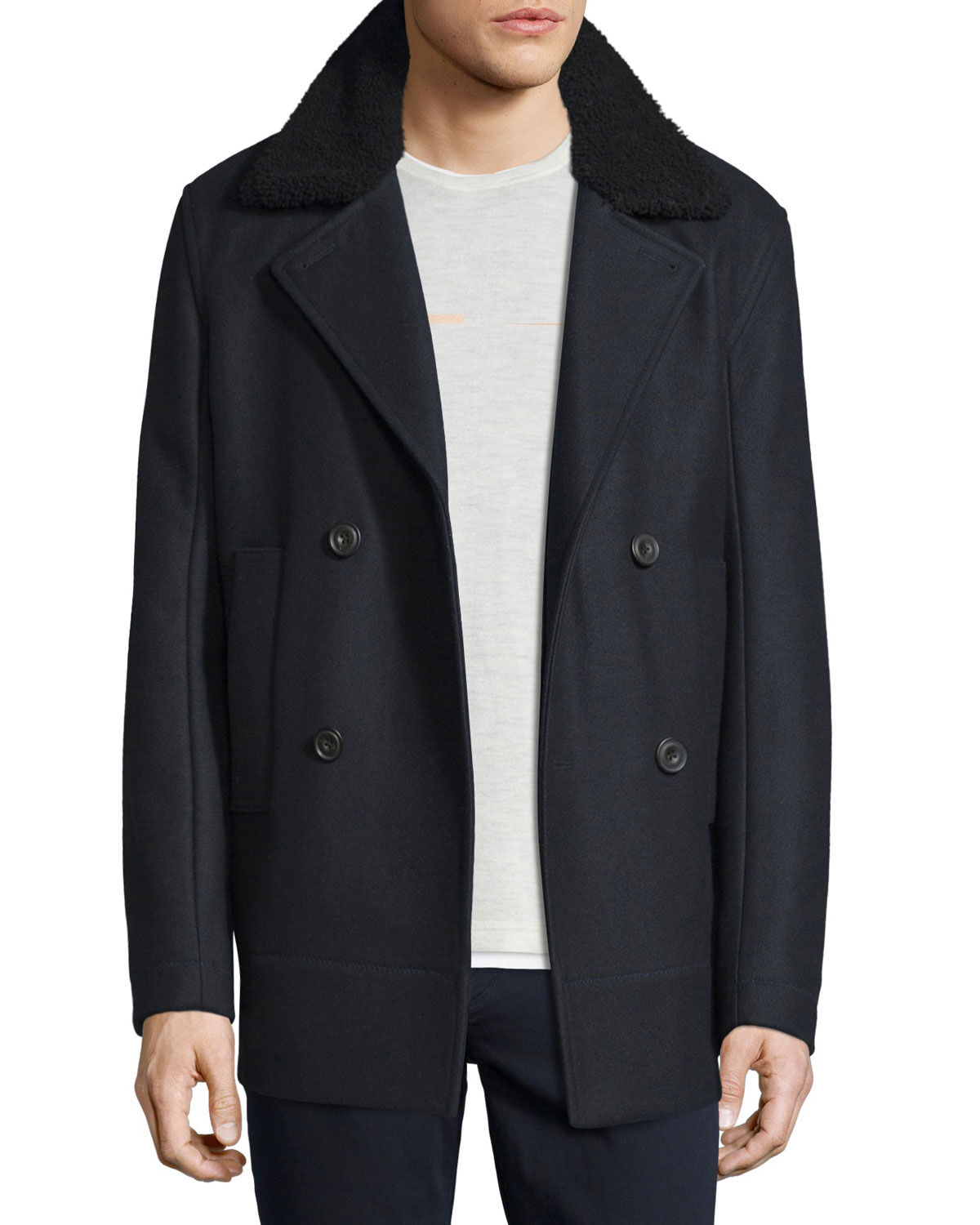 VL NWT VINCE WOOL BLEND WITH GENUINE SHEARLING COLLAR MEN PEACOAT SIZE L