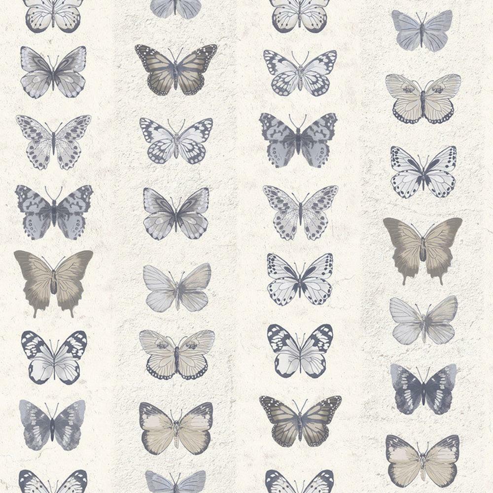 G67993 - Organic Textures Butterflies Beige Brown Grey Galerie Wallpaper