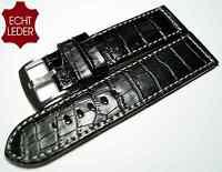 Uhrenarmband Leder Ersatz Armband Kroko Look Watch Strap Leather schwarz 20 mm _