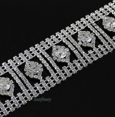 1 Yard Clear Rhinestone Sewing Trims 30mm Applique Costume Chain Wedding Favor