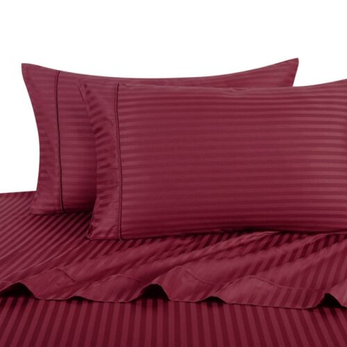 Luxury Soft 100/%Egyptian Cotton 300 Thread Count Sateen Stripe Damask Sheet Set