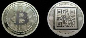 """2012 RARE """"Uncracked"""" AOCS Physical Bitcoin 1 oz .999 Silver Coin Round QR Code"""