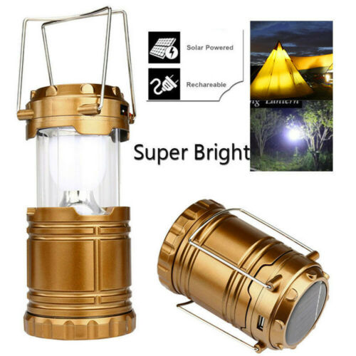 Solar USB Rechargeable Outdoor Camping Tent Lantern Lights 6 LED Bright Lamp