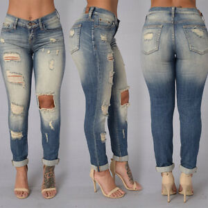 USA Women's Denim Skinny Ripped Pants High Waist Stretch Jeans Pencil Trousers