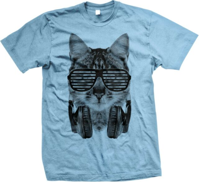 Sleeveless,Sunglasses Headphones Mens Tank Top Funny Funny Cat Shirt Graphic Tee DJ CAT Men/'s Tank Weird Music Black Cat Tee EDM