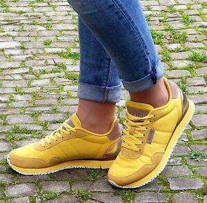 WODEN-Sneaker-NORA-II-Gelb-Super-Lemon-Echtleder-Textil-Damen-Wechselfussbett