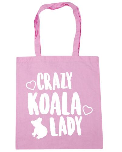 Crazy koala lady Tote Shopping Gym Beach Bag 42cm x38cm 10 litres