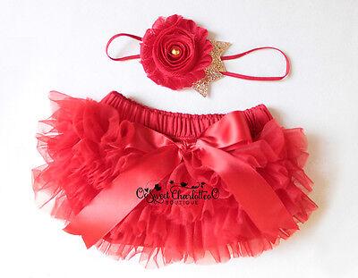 2pcs Cake Smash Outfit Red Baby Headband And Bloomer Set Newborn Photo Prop