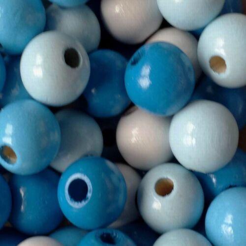 Deutsche Holzperlen Super Blau Mix mit 3 Blautönen weiß 10 oder 12mm
