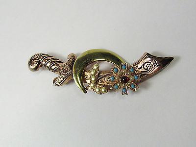 Coro Sterling Silver Pink Goldwash Sword Brooch Shriners Scimitar 1940s A Katz