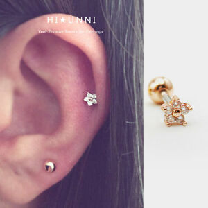 Image Is Loading 16g Flower Cartilage Earring Helix Conch Tragus Earrings