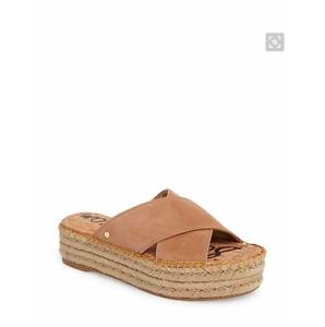 SAM EDELMAN Natty Platform Espadrille- Size 8.5- Golden Carmel Suede- $89