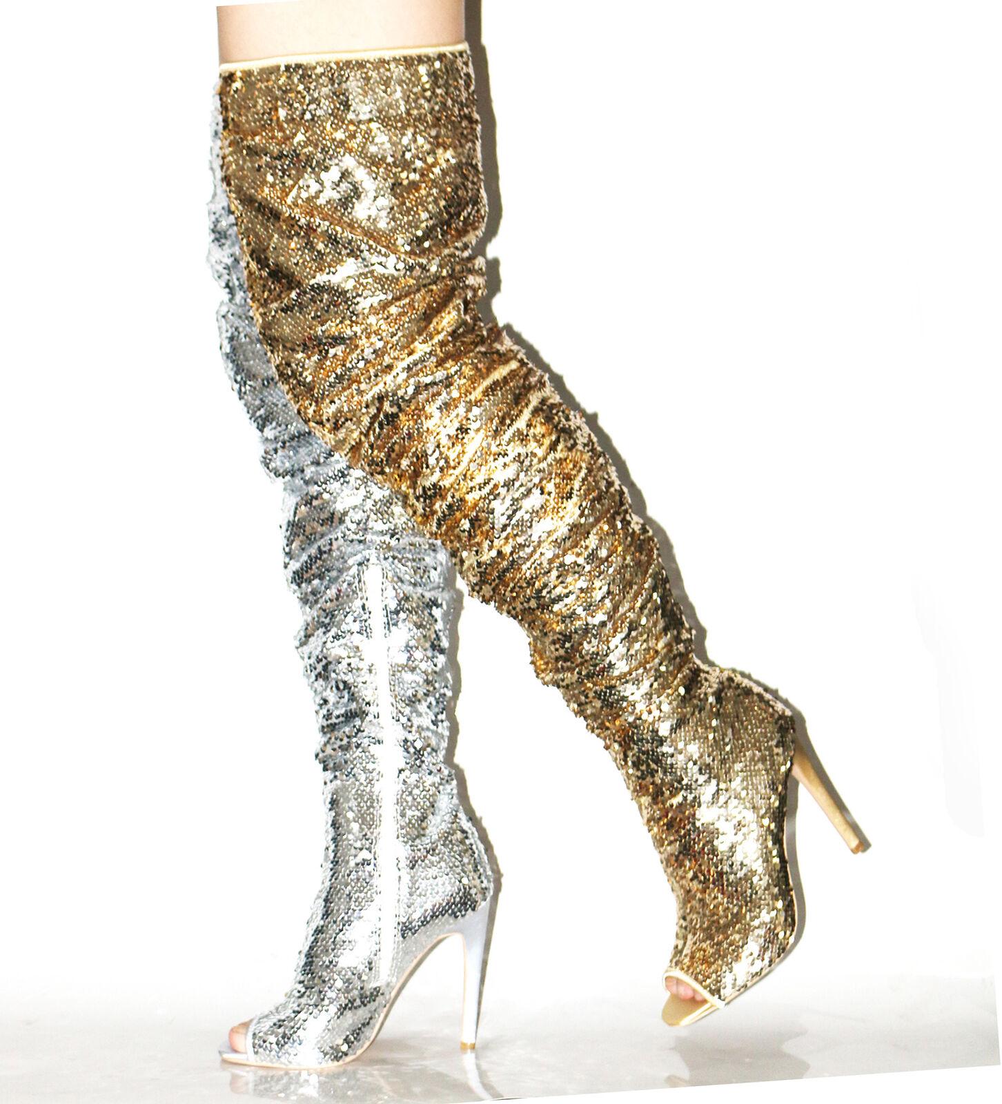 Mujeres Lentejuelas sobre la rodilla botas altas Peep Peep Peep Toe Tacón Alto Zapatos De Tacones Altos Club nocturno 18463d